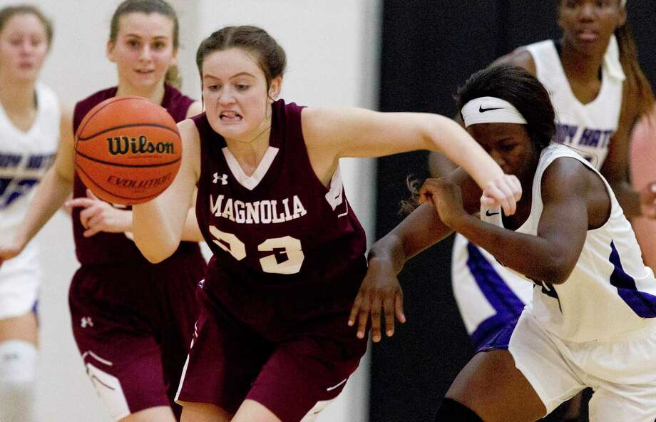 Magnolia guard Audrey Andrews (23), shown here last season, had 14 points, six rebounds and two steals in a win over Willis Monday night. Photo: Jason Fochtman, Houston Chronicle / Staff Photographer / © 2018 Houston Chronicle