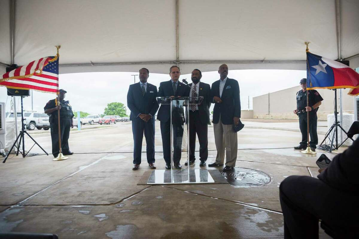 State Rep. Rick Miller, R-Sugar Land, speaks at a presser celebrating progress on the Sugar Land 95 Memorial Project in Sugar Land, Monday, June 17, 2019. Gov. Abbott signed a bill Miller authored that would allow Fort Bend County to operate and maintain the cemetery where 95 African American remains were found last year.