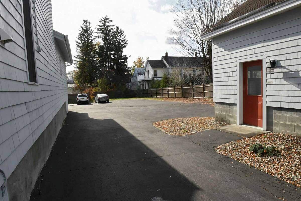 Driveway and parking lot to Dr. Richard Bryan's properties on Church St. where he's trying to open a doctor's office on Friday, Nov. 8, 2019 in Saratoga Springs, N.Y. (Lori Van Buren/Times Union)