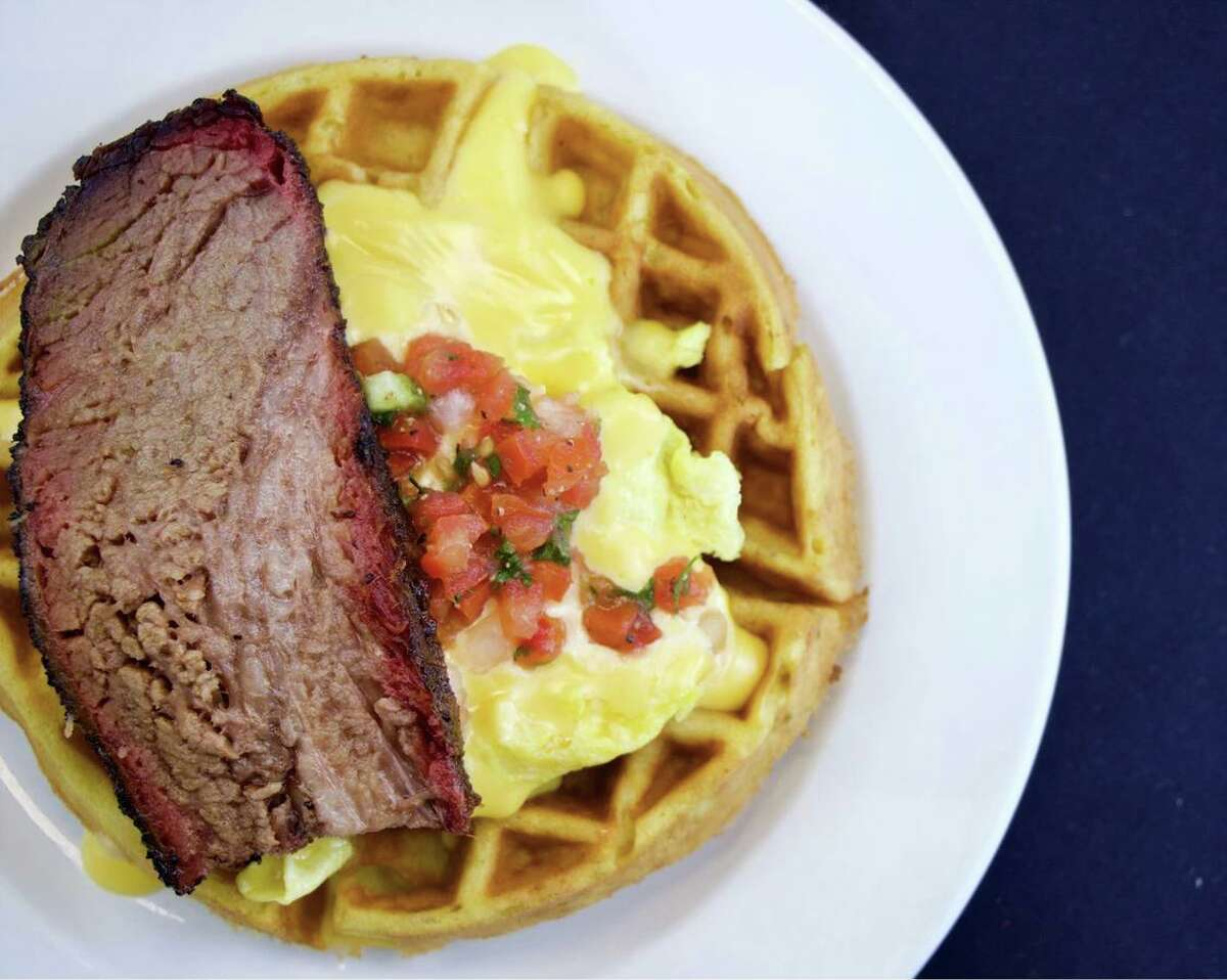 Brisket, egg and waffles at Buck's Barbeque Co. in Galveston