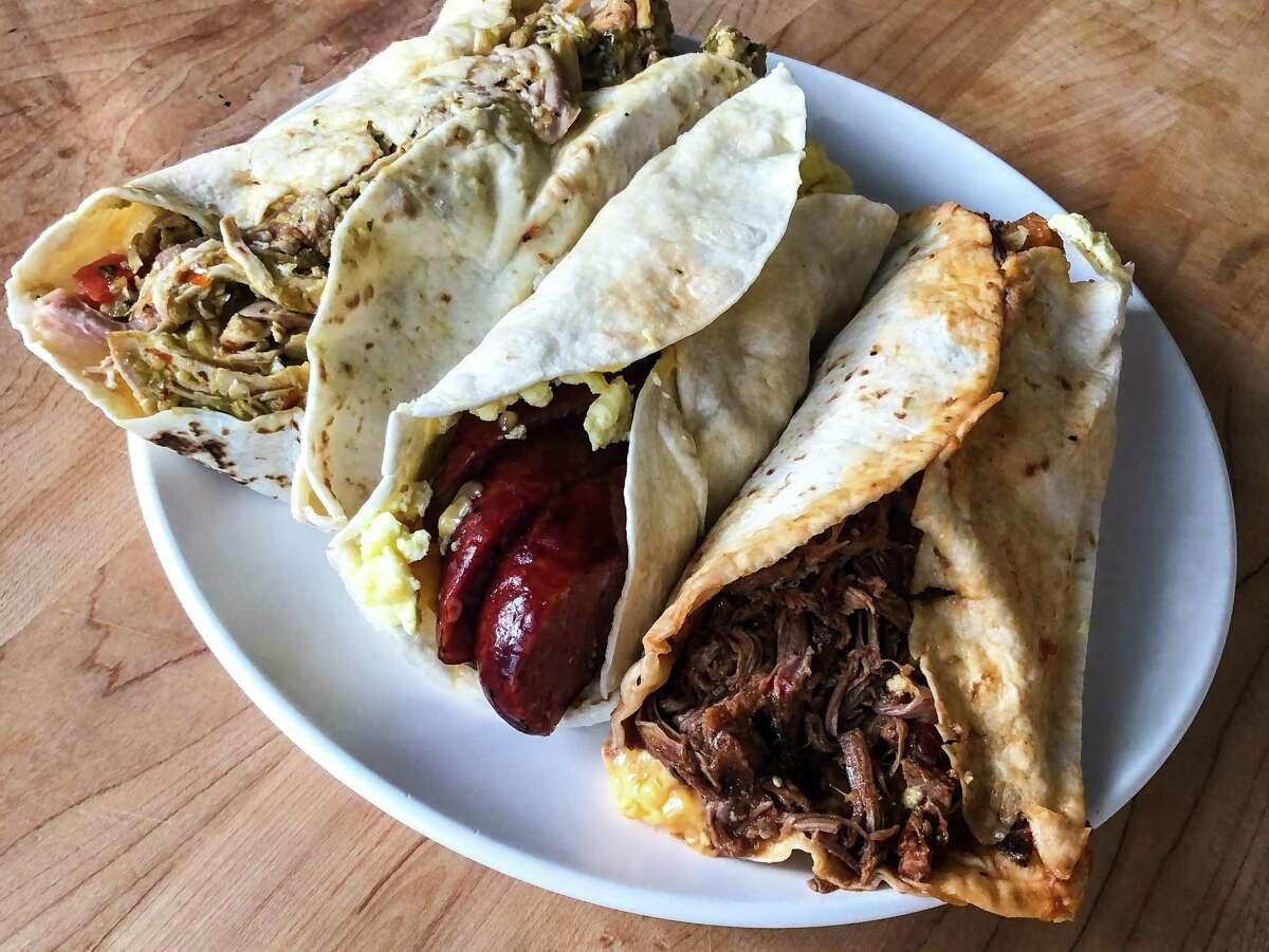 Smoked chicken, sausage link and brisket breakfast tacos at Pappas Bar-B-Q