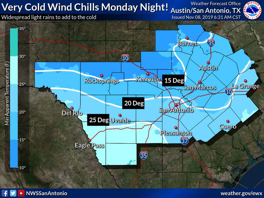 According to the National Weather Service, freezing temperatures and showers are expected to come to the Alamo City by Monday, which may lead to wet snowflakes by Tuesday morning. Photo: NWS