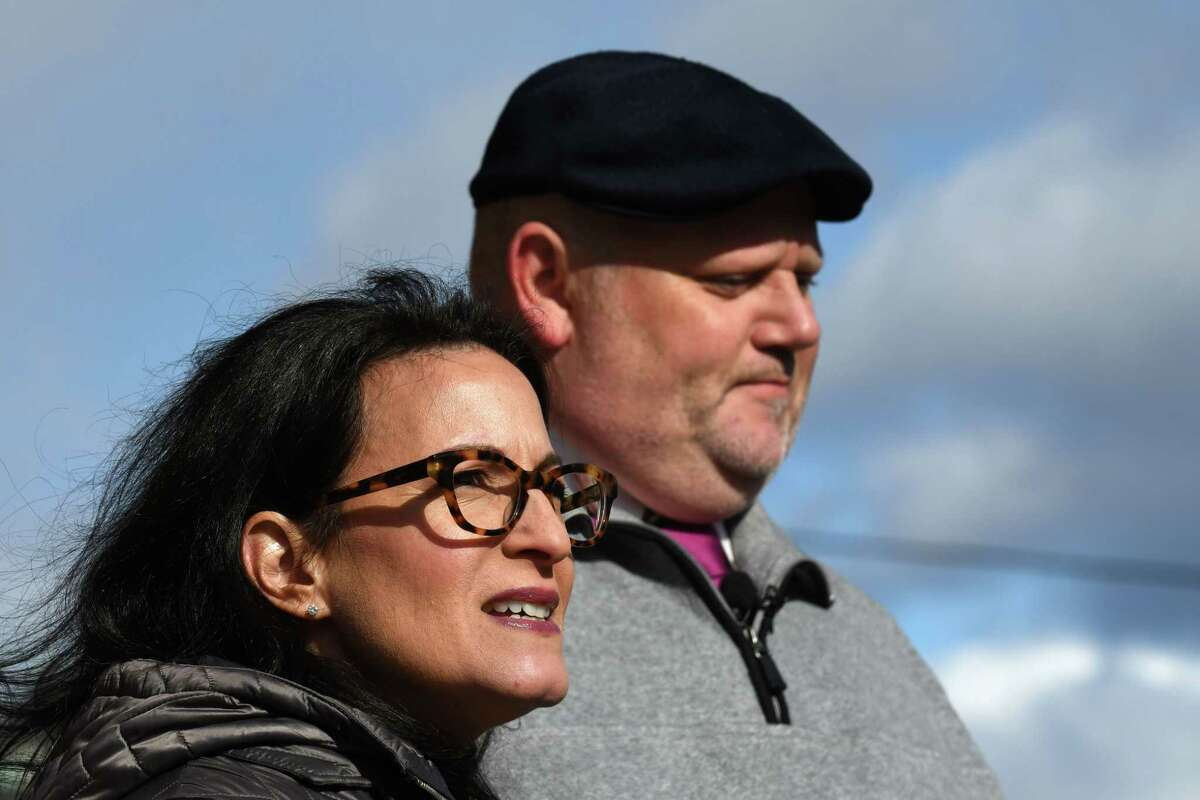 Attorney Danielle George, left, and Clergy abuse victim advocate James Faluszczak speak during a press conference on Friday Nov. 8, 2019, outside the Cathedral of Immaculate Conception in Albany, N.Y. The news conference was prompted by recent allegations made against former Bishop Howard Hubbard. (Will Waldron/Times Union)