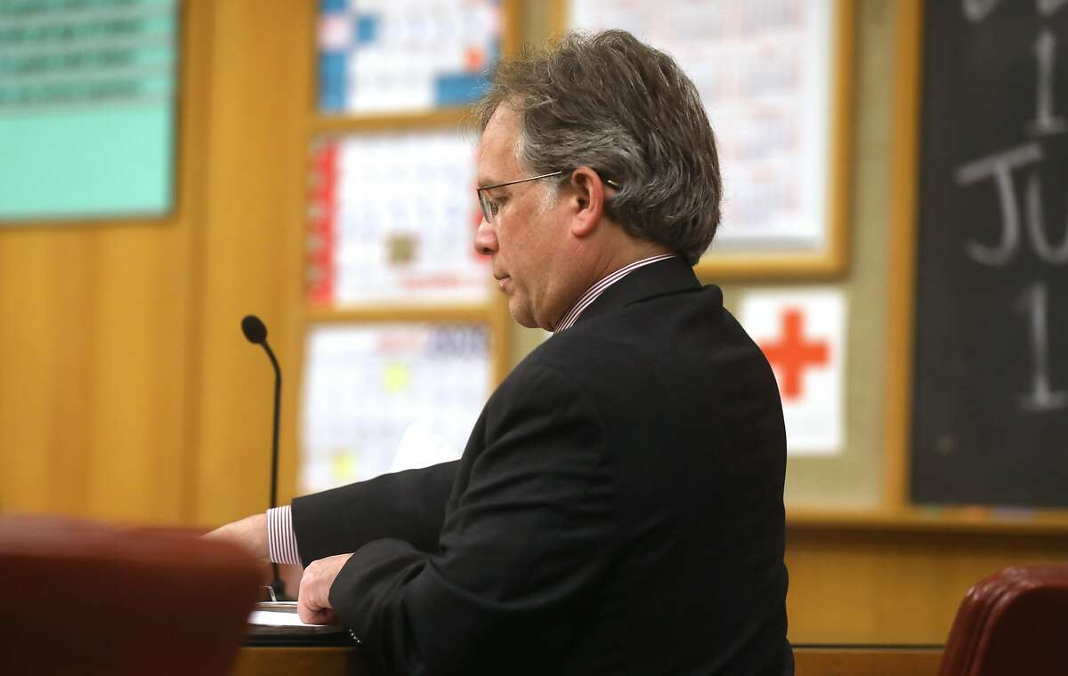 Attorney Marc Zilversmit gets ready to request a superior court judge to reconsider the 2006 44-year prison sentence to Napoleon Brown, brother of Mayor London Breed, who has already spent 18 years in prison for involuntary manslaughter and armed robbery on Friday, Nov. 8, 2019, in San Francisco, Calif.