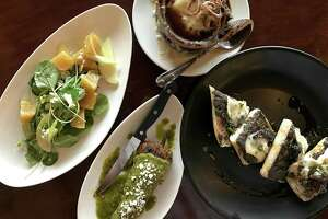 Roasted beet salad, French onion soup, escargot toast and a lamb-stuffed chile relleno at Julia's Bistro & Bar