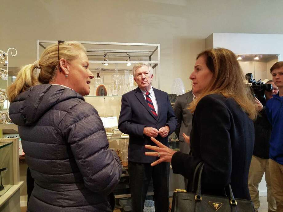 Lt. Gov. Bysiewicz took a brief tour of the New Canaan village and visited a couple of businesses including Wave on Main Street. Photo: Grace Duffield / Hearst Connecticut Media