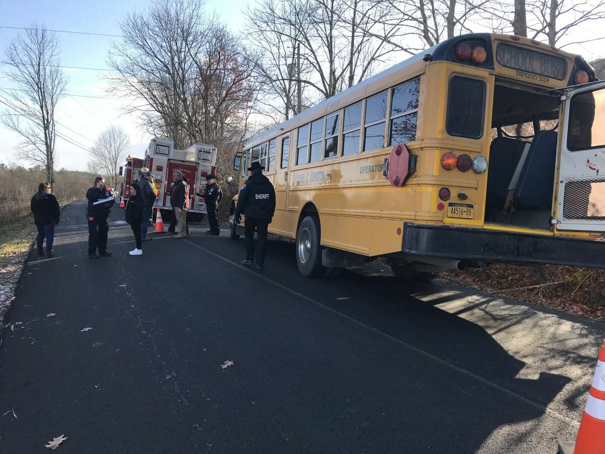 A bus driver and four children needed medical care after a school bus slid off a rural road and hit a tree in Taghkanic.