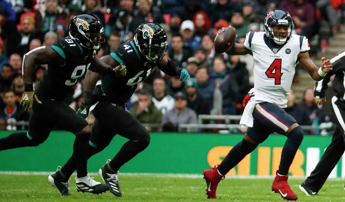 Deshaun Watson will try to get the Texans' first win when Houston plays the Jaguars on Sunday at NRG Stadium.