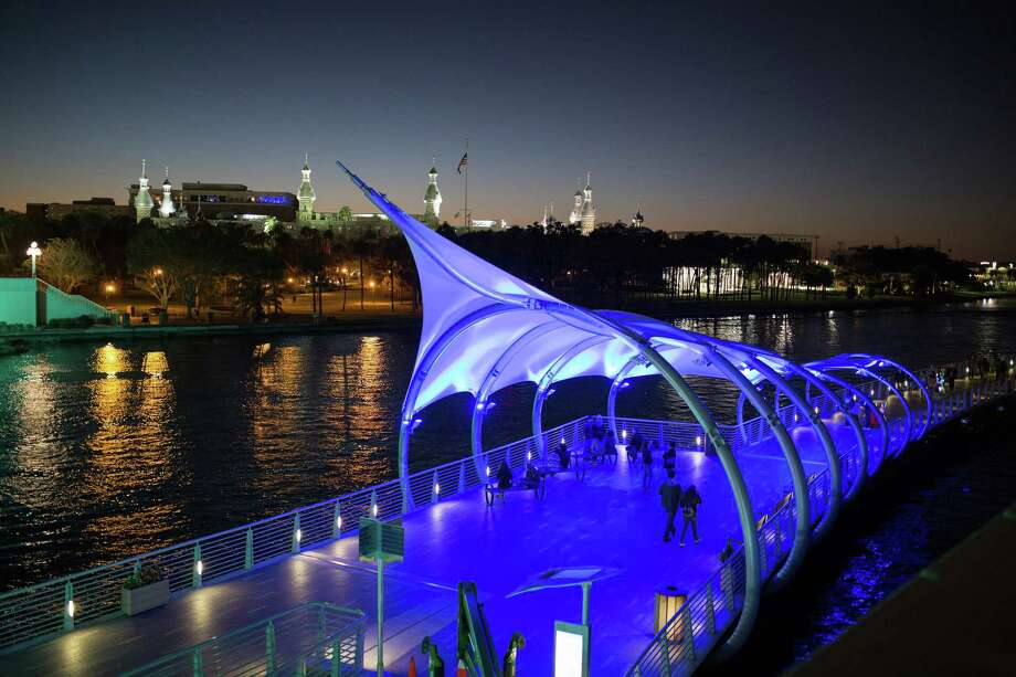The Tampa Riverwalk at night. Photo: Handout Courtesy Of Visit Tampa Bay / Handout
