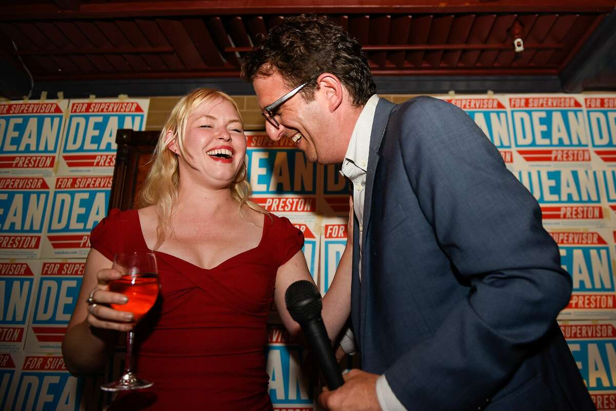 District Five Candidate Dean Preston speaks to his campaign manager Jennifer Snyder during his election night watch party at Noir Lounge in Hayes Valley on November 05, 2019 in San Francisco, Calif.