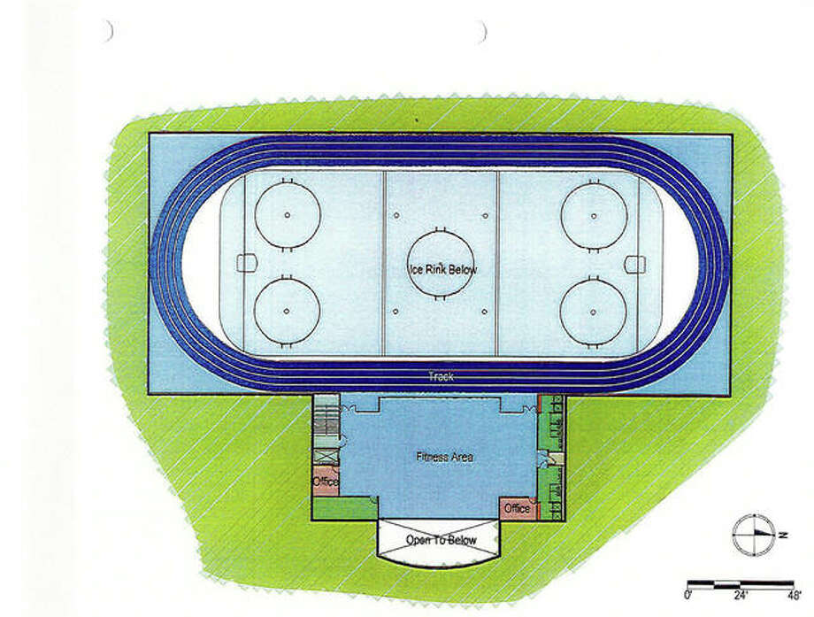 "The latest concept drawing of the city's third piece in its ""Better Place to Play"" initiative, the proposed ice rink/indoor track and teen center. The city recently received a $2.5 million PARC grant to help make the project a reality."