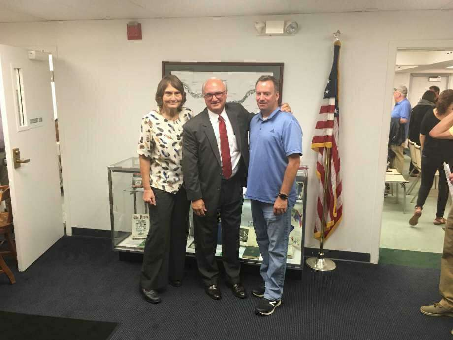 Sean Connelly, right, has joined Barbara Manners and First Selectman Rudy Marconi on Ridgefield's Board of Selectman. Photo: Contributed Photo