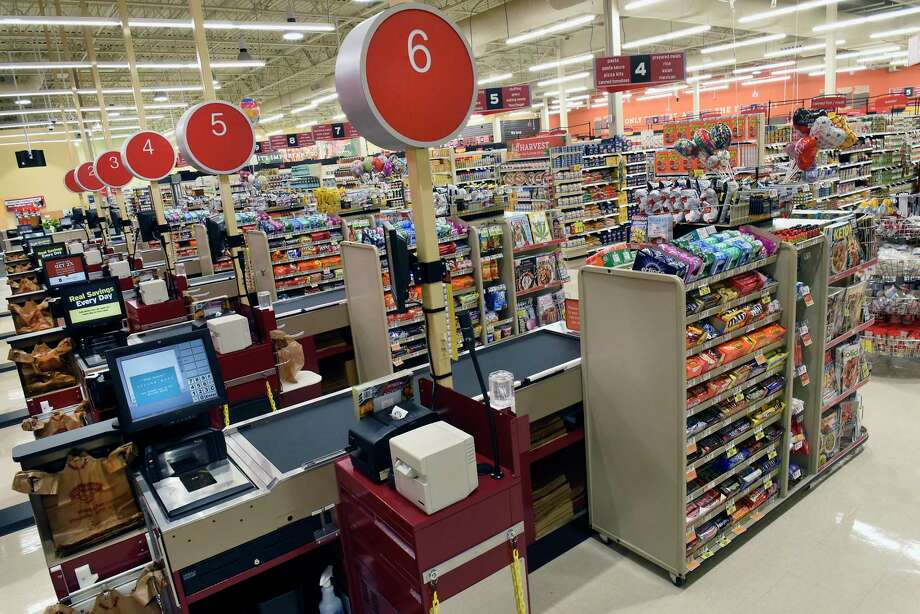 Front end cashier area at the new Hannaford Supermarket at 3 Via Rossi Way on Friday, Nov. 8, 2019 in Ballston Spa, N.Y. The store will open tomorrow. (Lori Van Buren/Times Union) Photo: Lori Van Buren, Albany Times Union / 40048213A