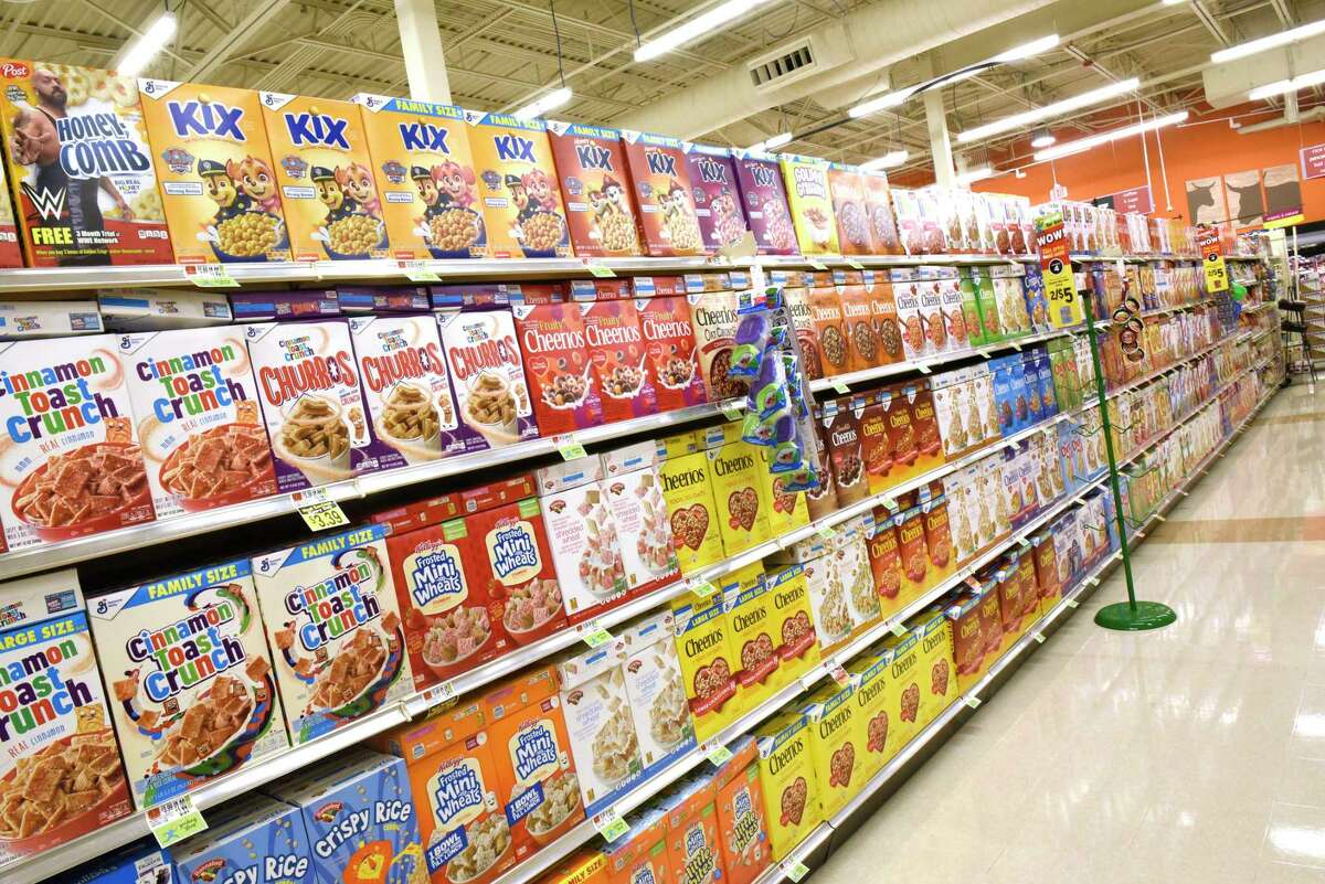 Cereal is seen on the shelves of the new Hannaford Supermarket at 3 Via Rossi Way on Friday, Nov. 8, 2019 in Ballston Spa, N.Y. The store will open tomorrow. (Lori Van Buren/Times Union)
