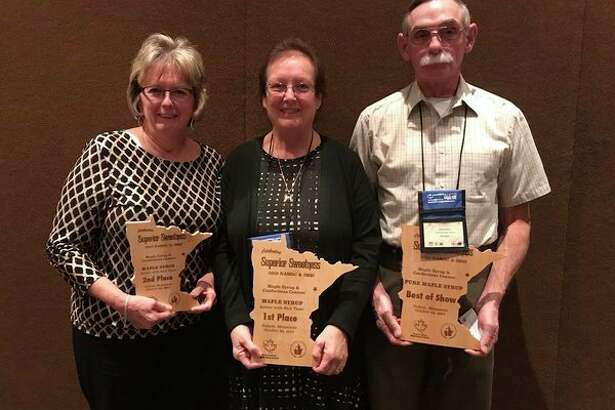 Patricia Hyde (left) was recognized by the International Maple Syrup Institute and North American Maple Syrup Council for her syrup in the amber/rich category. Her farm, Moram Maple, is located in Morley. (Courtesy photo)