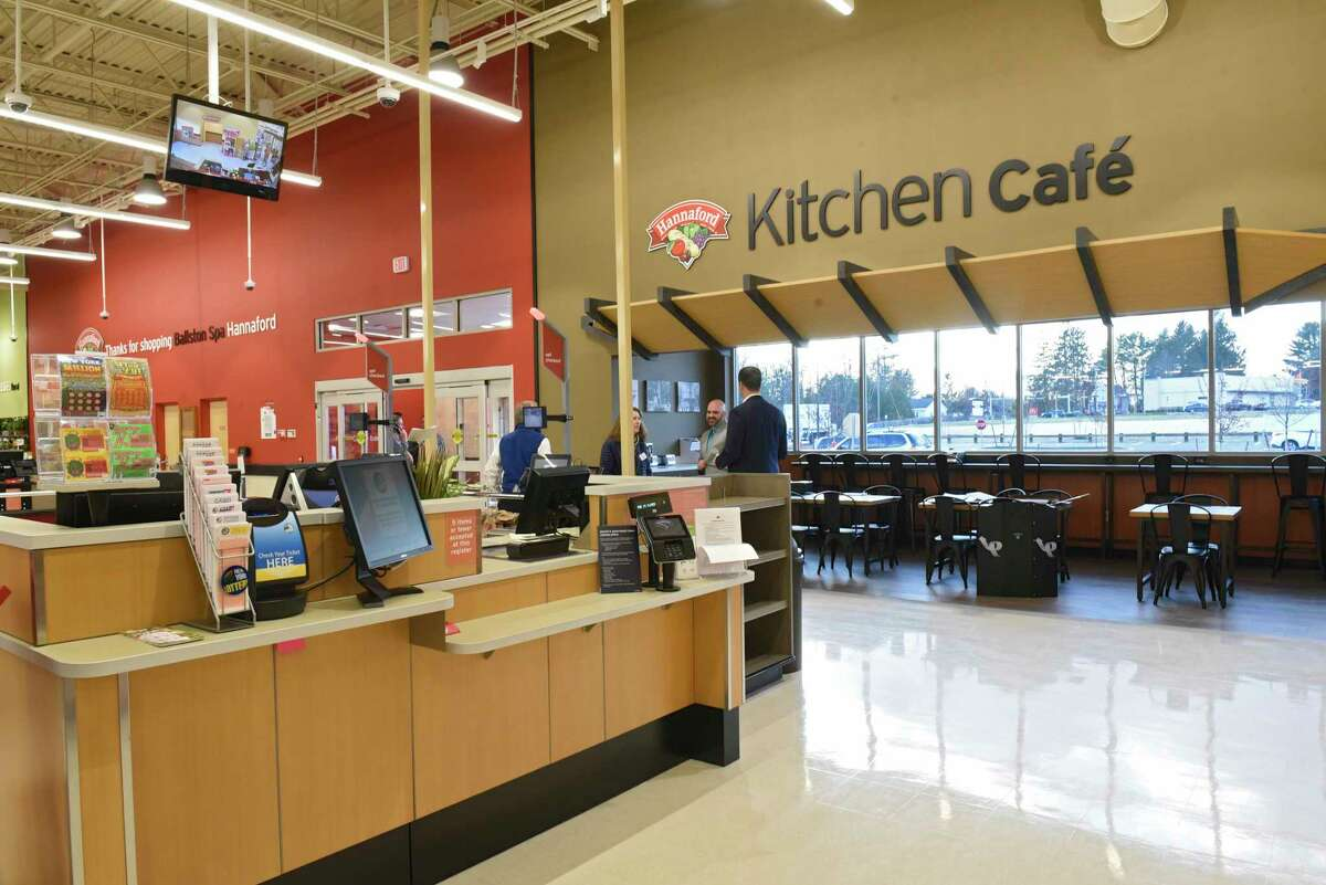 The kitchen cafe is seen in the front of the new Hannaford Supermarket at 3 Via Rossi Way on Friday, Nov. 8, 2019 in Ballston Spa, N.Y. The store will open tomorrow. (Lori Van Buren/Times Union)