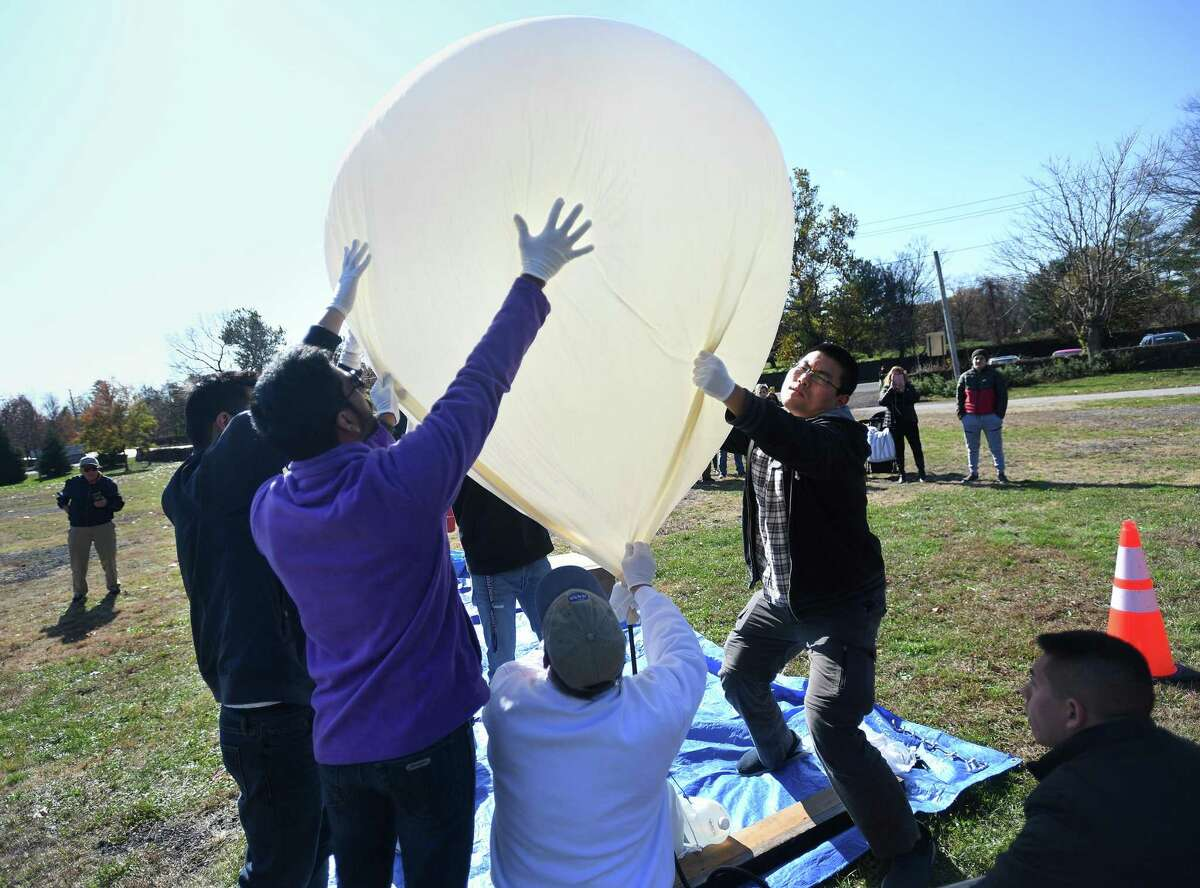 University of Bridgeport students and volunteers from the Discovery Museum teamed up recently to launch a test flight of a high altitude balloon at Ninety Acres Park. The official launch will be held during an event in Bridgeport later this month.