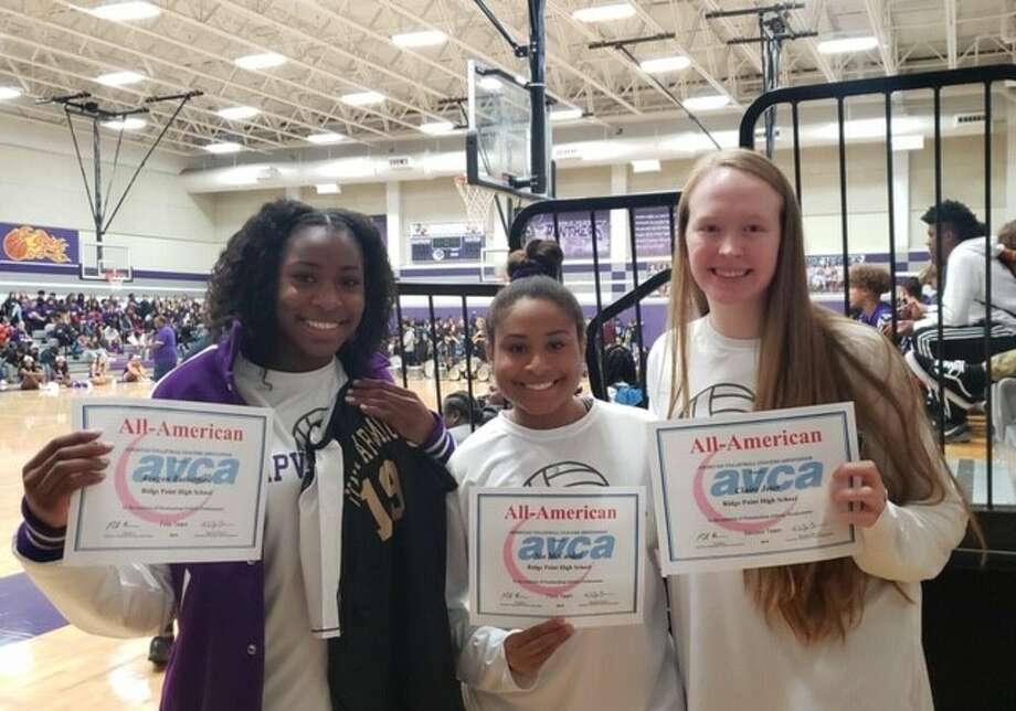 Ridge Point seniors Reagan Rutherford, Claire Jeter and Nia McCardell were named to the first, second and third teams, respectively, and Rutherford and the rest of the first team were invited to play in the Under Armour All-America match on Dec. 31 at Walt Disney World. Photo: Andres Chio