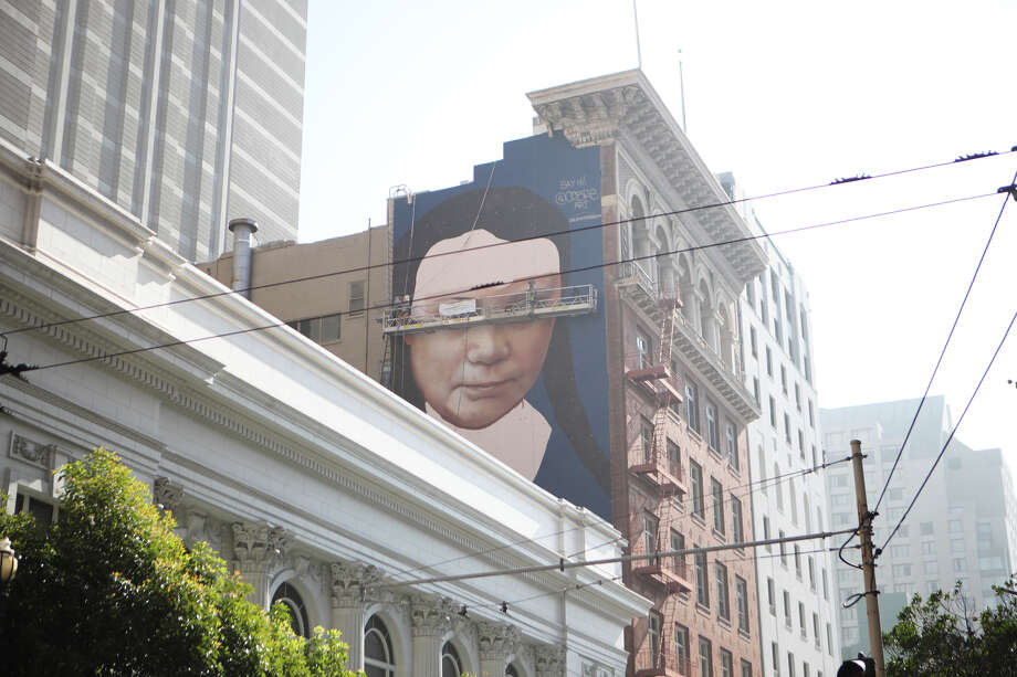 The Greta Thunberg mural can be seen walking south on Mason Street just past Geary near Union Square. Photo: Tessa McLean