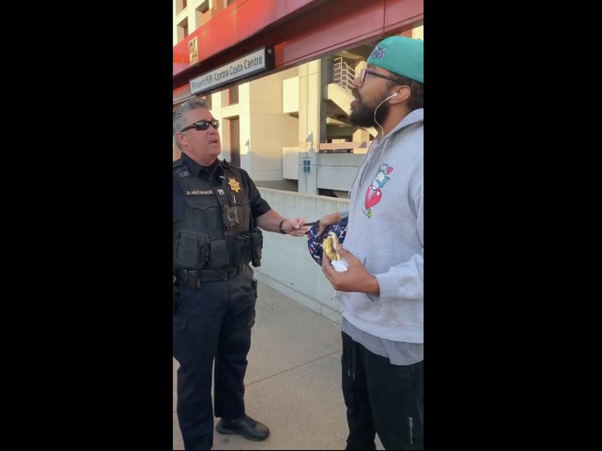 Man detained for eating a sandwich on Pleasant Hill BART platform.