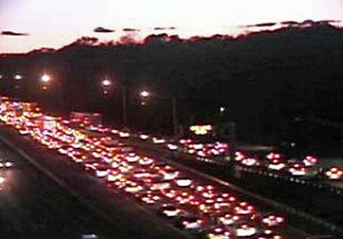 A traffic camera image showing backed up traffic in the area of a vehicle fire in Milford, Conn., on Interstate 95 on Friday, Nov. 8, 2019.