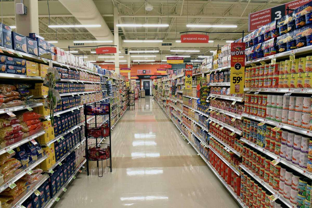 Product is stocked on shelves and ready to go at the new Hannaford Supermarket at 3 Via Rossi Way on Friday, Nov. 8, 2019 in Ballston Spa, N.Y. The store will open tomorrow. (Lori Van Buren/Times Union)