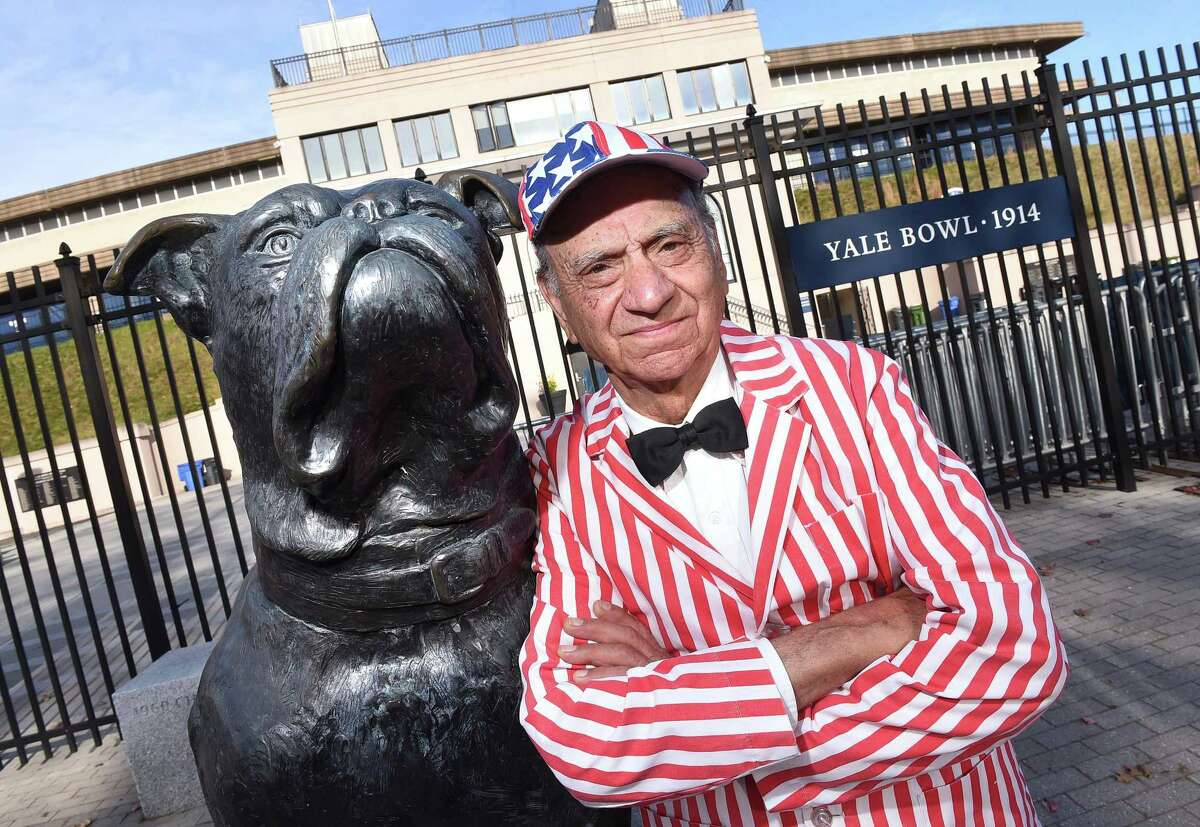 Charlie Salerno of the Clam Diggers band outside the main gate at Yale Bowl, near where his band used to play.