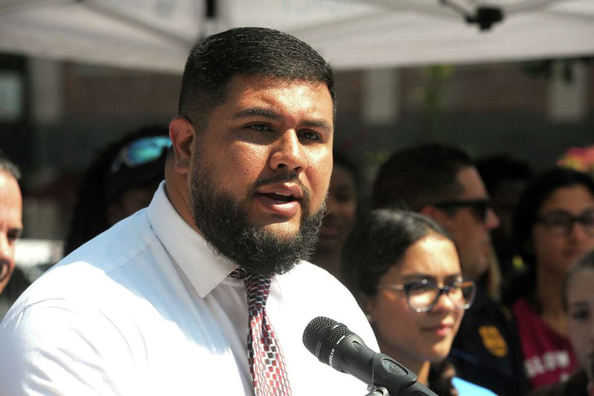 State Rep. Christopher Rosario speaks during a press conference at the Morton Government Center, in Bridgeport, Conn. Aug. 22, 2019.