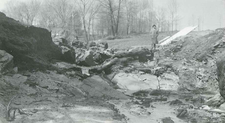 Photos of Crystal Lake and the Crystal Lake dam in Middletown, after it breached in 1961. Photo: Submitted