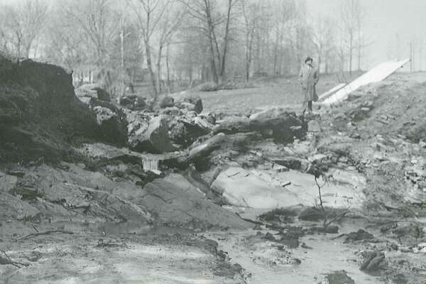 Photos of Crystal Lake and the Crystal Lake dam in Middletown, after it breached in 1961.