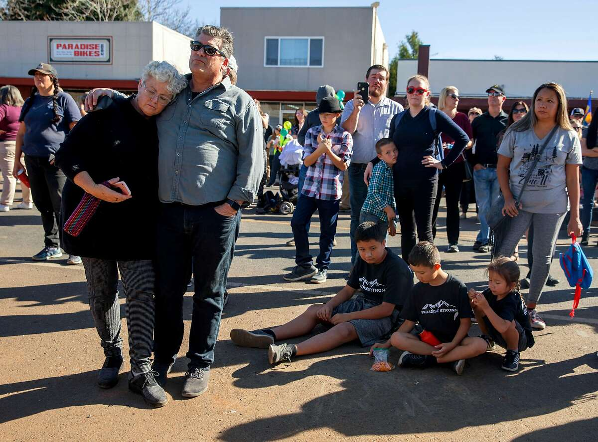 Hundreds gather to attend the opening ceremony of the Building Resiliency Center and commemoration of the one year anniversary of the devastating Camp Fire in Paradise, Calif. Friday, Nov. 8, 2019.
