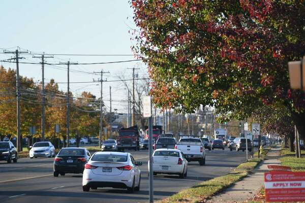 Afternoon traffic on Lordship Boulvard in the vicinity of Long Beach Boulevard in Stratford, Conn. on Tuesday, November 5, 2019. Amazon has announced plans to open a distribution center in a large warehouse on Long Beach Boulevard.