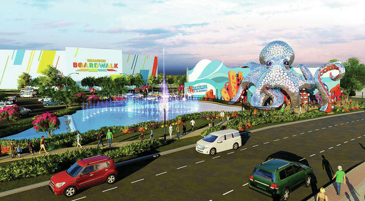 Branson Boardwalk, a redevelopment of the former Grand Palace shown in this rendering, is one of several family-oriented construction projects signaling changes for the tourism-driven city. The $51 million development will be anchored by the 46,000-square-foot Aquarium at the Boardwalk set to open Summer 2020.