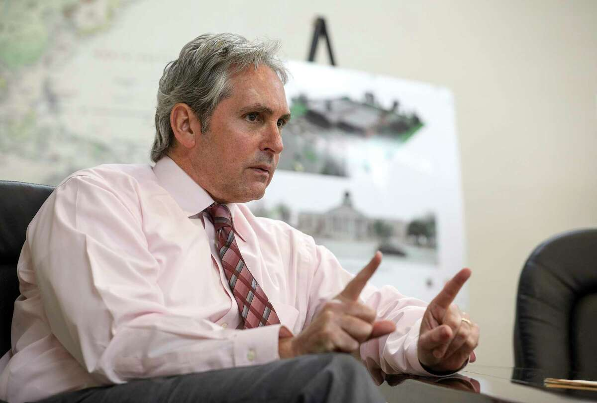 Jeff Wagner, Pasadena's mayor, speaks to a reporter on Tuesday, Oct. 1, 2019, in Pasadena.