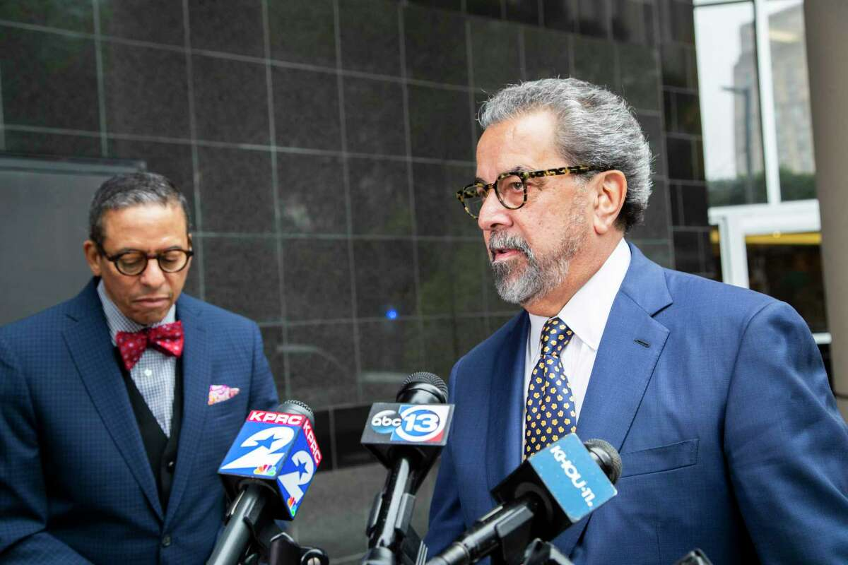 Kent Schaffer, the attorney of Judge Alexandra Smoots-Thomas talks to members of the press outside of the Bob Casey United States Courthouse on Friday, Nov. 8, 2019, in Houston. Smoots-Thomas has been accused of embezzling campaign contributions.