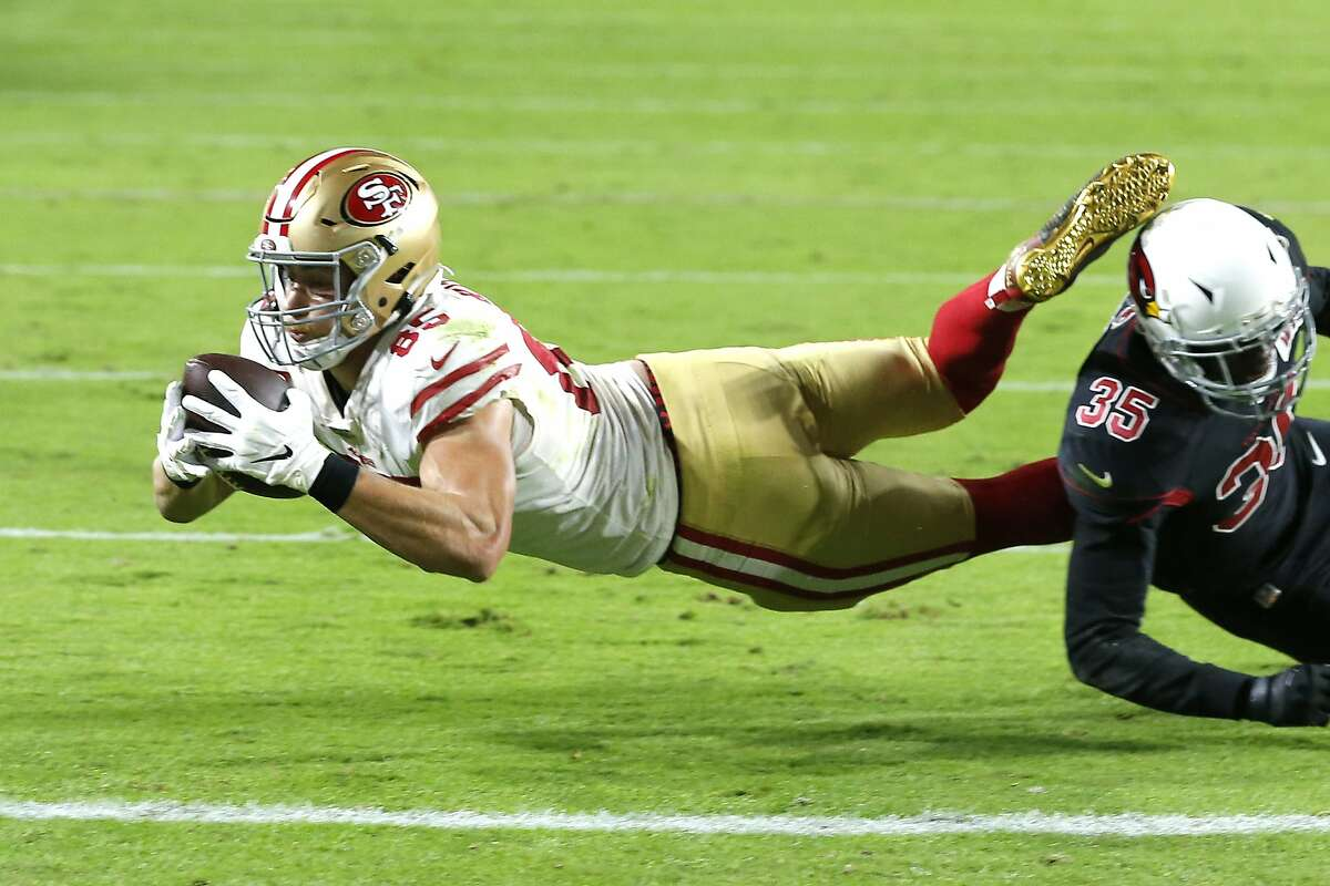 San Francisco 49ers tight end George Kittle (85) during the first half of an NFL football game against the Arizona Cardinals, Thursday, Oct. 31, 2019, in Glendale, Ariz. (AP Photo/Rick Scuteri)