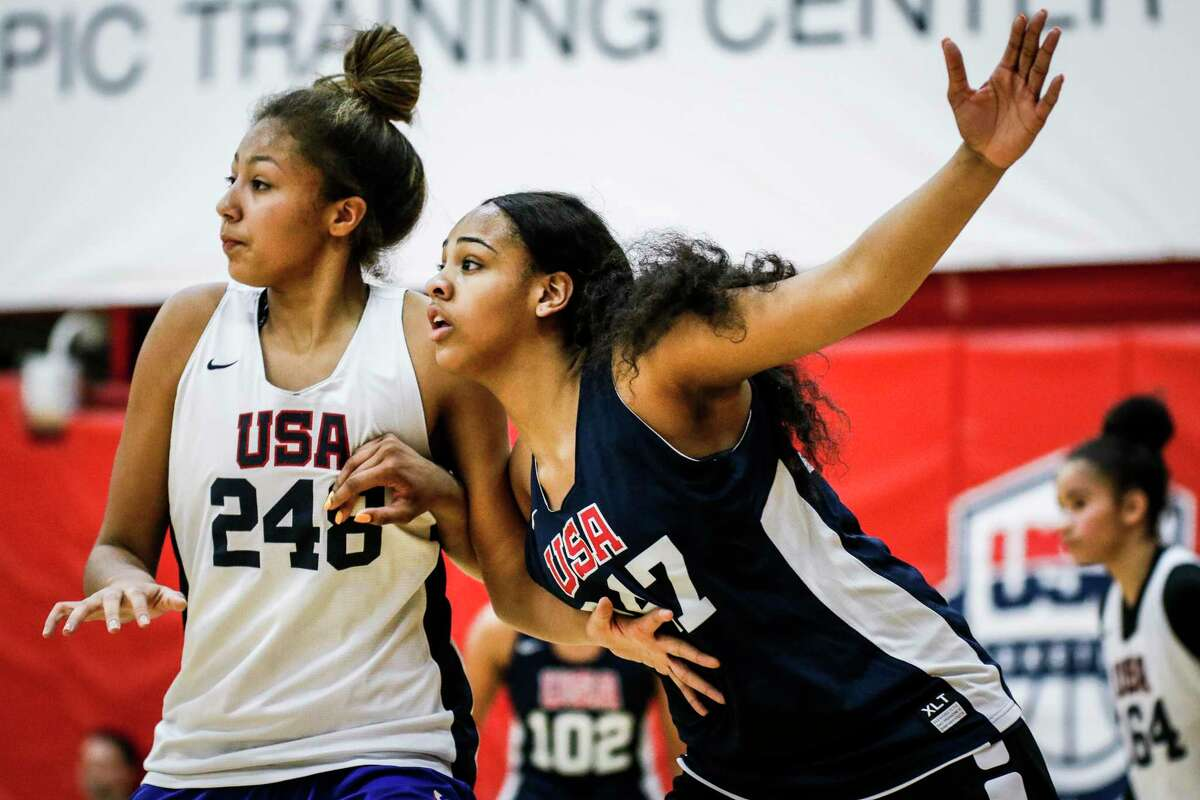 COLORADO SPRINGS, CO - MAY 25: Hannah Gusters #247 of DeSoto, Texas posts up against Amari DeBerry #248 of Williamsville, N.Y. while participating in tryouts for the 2018 USA Basketball Women's U17 World Cup Team at the United States Olympic Training Center in Colorado Springs, Colorado. Finalists for the team will be announced on May 28 and will remain in Colorado Springs for training camp through May 30. (Photo by Marc Piscotty/Icon Sportswire via Getty Images)