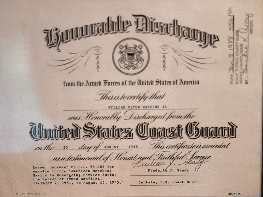 William Watkins' honorable discharge certificate from the Armed Forces of the United States of America in August of 1945. Watkins served as a Merchant Marine during World War II. Photo taken Wednesday, 10/30/19 Photo: Guiseppe Barranco/The Enterprise, Photo Editor / Guiseppe Barranco ©