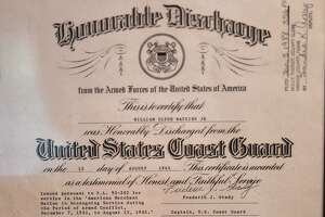 William Watkins' honorable discharge certificate from the Armed Forces of the United States of America in August of 1945. Watkins served as a Merchant Marine during World War II. Photo taken Wednesday, 10/30/19