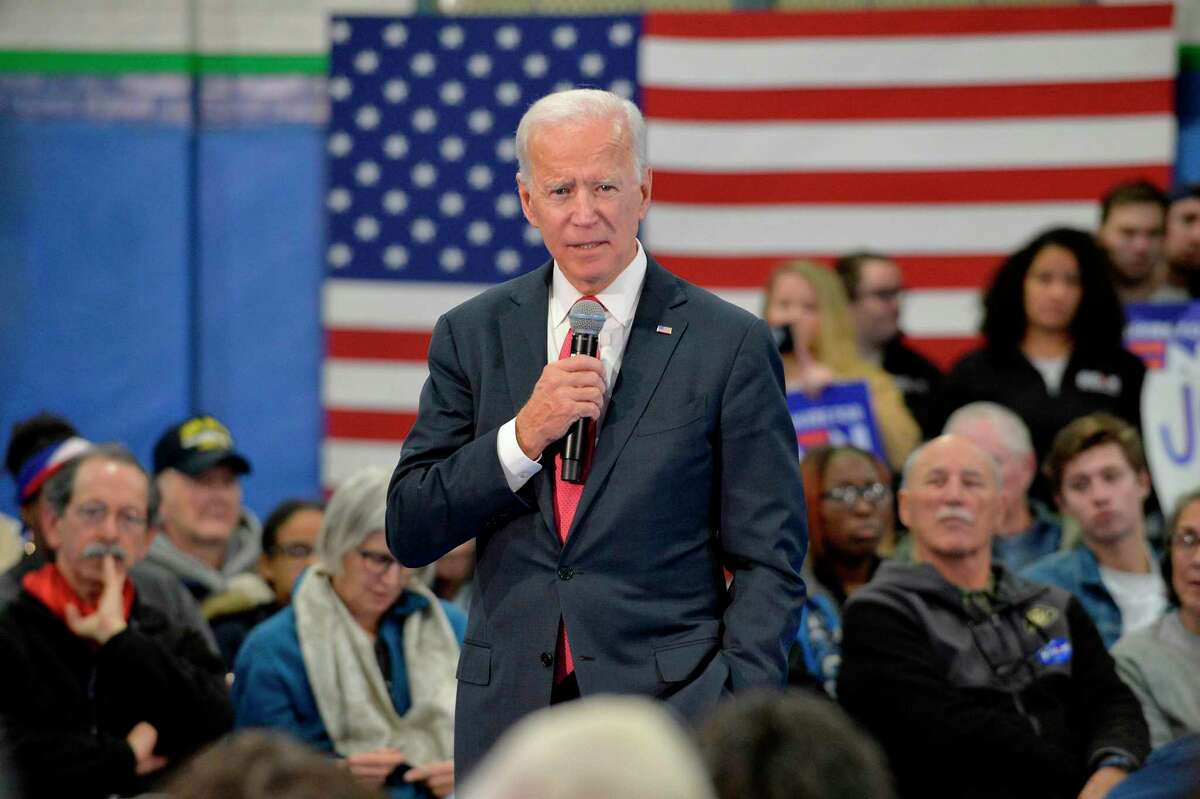 Democratic presidential hopeful former US Vice President Joe Biden speaks during a town hall at the Proulx Community Center in Franklin, New Hampshire on November 8, 2019. - Biden spoke to local community members from the region shortly after signing paperwork at the NH State House where he officially joined the New Hampshire Primary as a candidate. (Photo by Joseph Prezioso / AFP) (Photo by JOSEPH PREZIOSO/AFP via Getty Images)