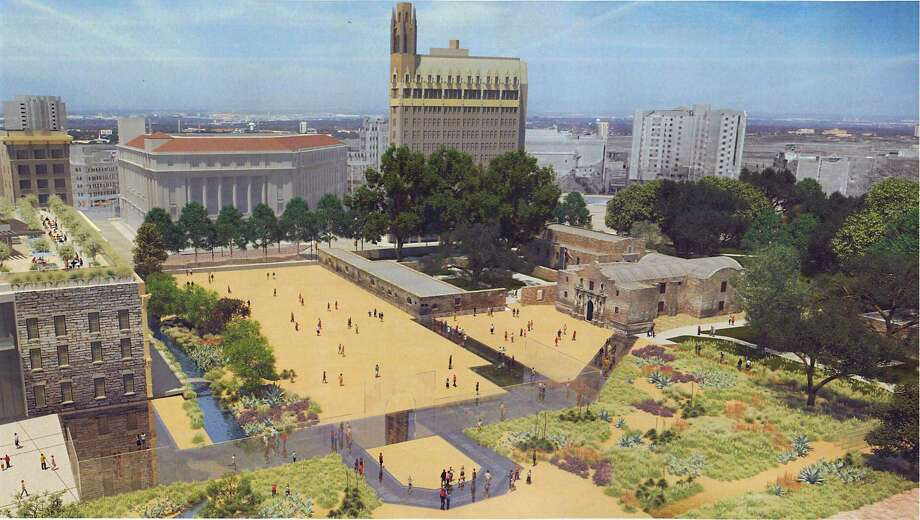 This rendering shows the appearance of Alamo Plaza under a master plan that would include an interpretation of the south wall and historic main gate of the mission and 1836 battle compound, made of structural glass. Other features include a 135,000-square-foot museum; historic footings of the historic walls displayed under structural glass; and interpretation of an acequia, or water canal, on the west end of the plaza. Photo: Courtesy,  Texas General Land Office / Texas General Land Office
