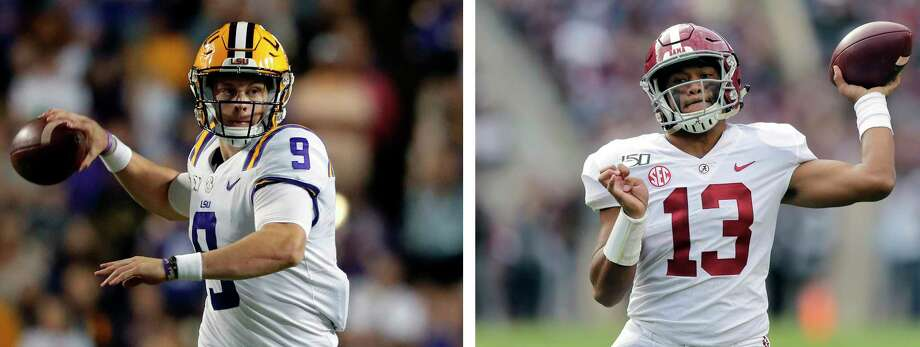 This combo of file photos shows, from left to right, LSU quarterback Joe Burrow and Alabama quarterback Tua Tagovailoa. A high-stakes tilt between LSU and Alabama could prove as pivotal in Heisman Trophy voting as it is in providing the winner an inside track to the College Football Playoff. (AP Photos/File) / AP