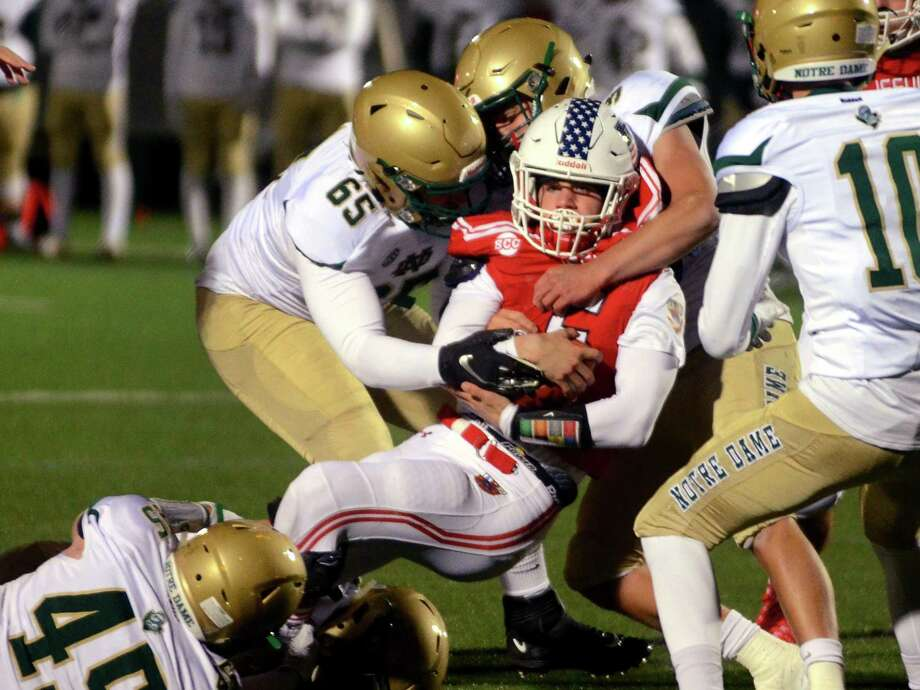 High school football action between Fairfield Prep and Notre Dame of West Haven in Fairfield, Conn., on Friday Nov. 8, 2019. Photo: Christian Abraham / Hearst Connecticut Media / Connecticut Post
