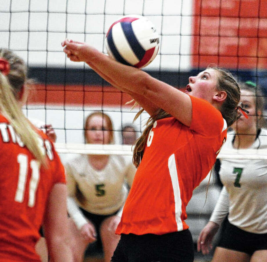 Greenfield's Kaitlyn Foiles passes the ball during a match against Athens in the New Berlin Super-Sectional Friday night. Photo: Dennis Mathes, JJC | For The Telegraph