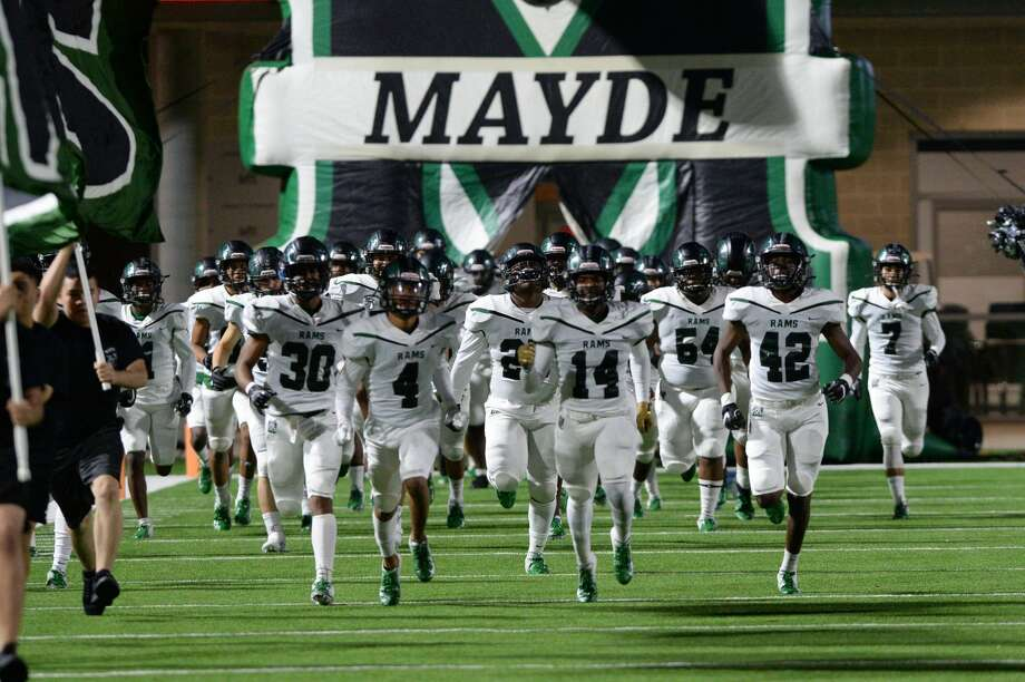 The Mayde Creek Rams take the field for a 6A Region III District 19 football game against the Morton Ranch Mavericks on Friday, November 8, 2019 at Legacy Stadium, Katy, TX. Photo: Craig Moseley/Staff Photographer