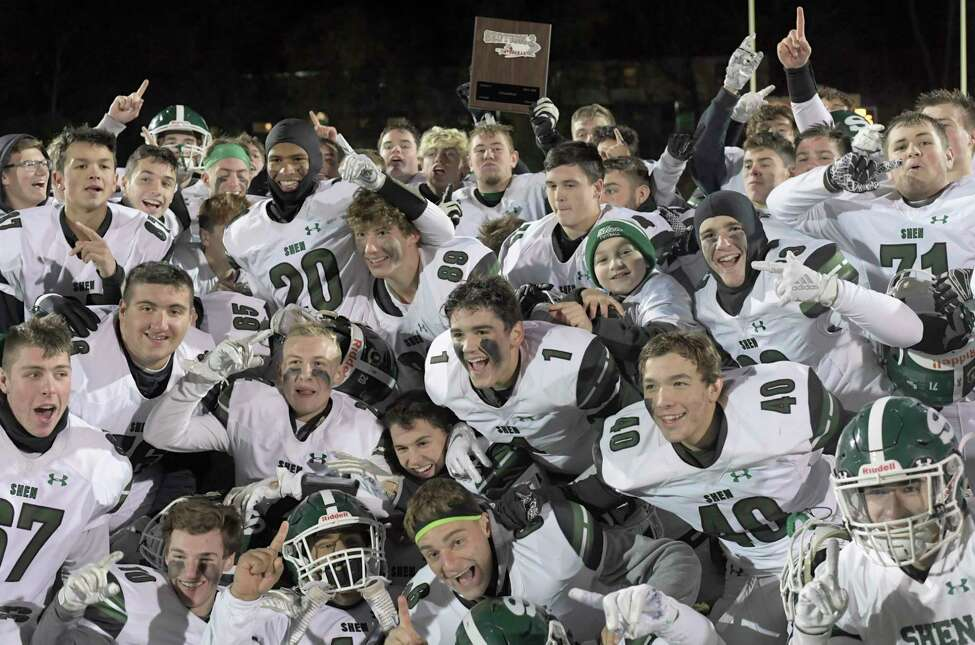 Shenendehowa players celebrate a 35-7 win against Guilderland during a Section II Class AA high school Super Bowl football game Friday, November 8, 2019, in Troy, N.Y. (Hans Pennink / Special to the Times Union)