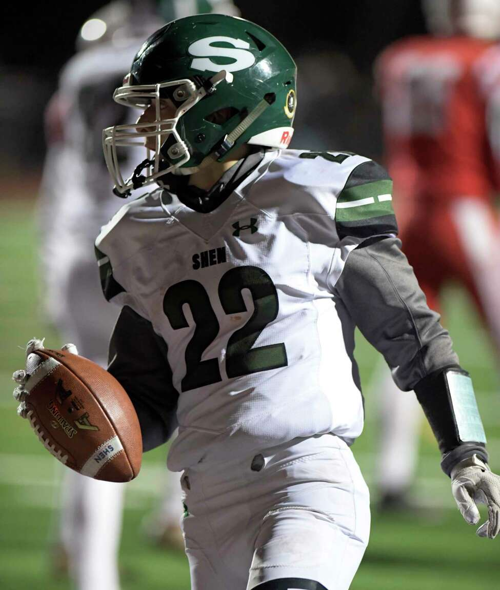 Shendehowa's Billy Beach (22) runs for a touchdown against Guilderland during a Section II Class AA high school Super Bowl football game Friday, November 8, 2019, in Troy, N.Y. Shenendehowa won the game. 35-7. (Hans Pennink / Special to the Times Union)
