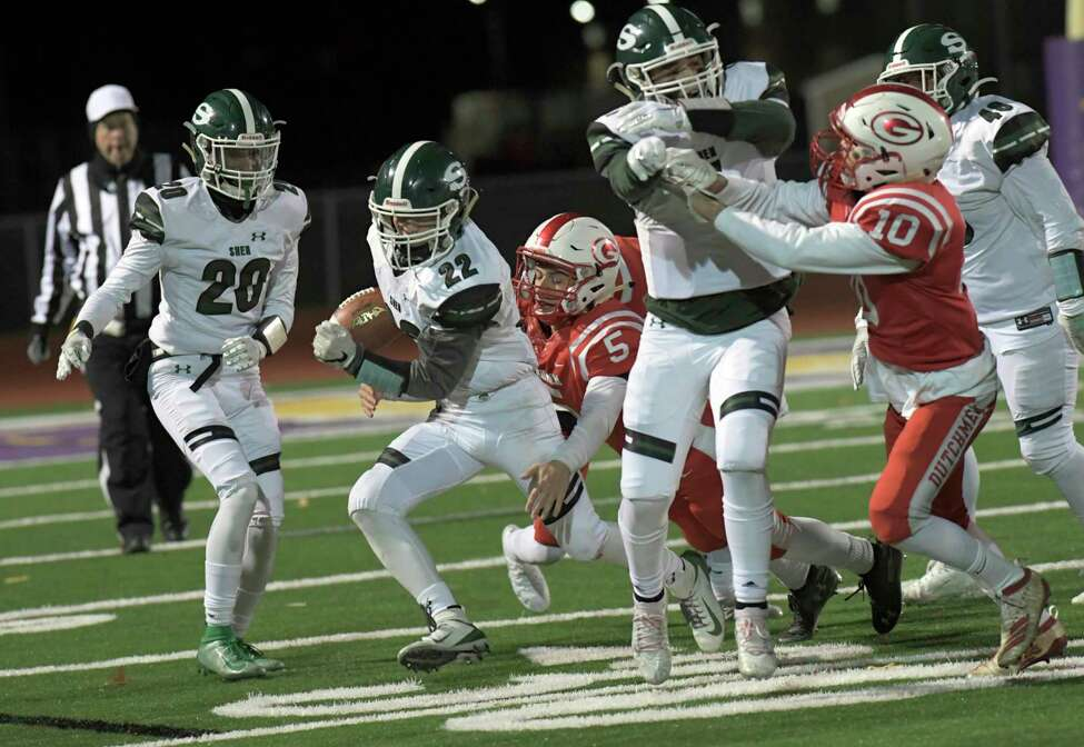 Shendehowa's Billy Beach (22) runs the ball against Guilderland during a Section II Class AA high school Super Bowl football game Friday, November 8, 2019, in Troy, N.Y. Shenendehowa won the game. 35-7. (Hans Pennink / Special to the Times Union)
