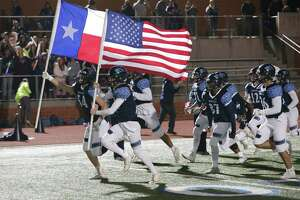 The Johnson Jaguars take the field for their game against Madison at Heroes Stadium on Friday, Nov. 8, 2019. (Kin Man Hui/San Antonio Express-News)