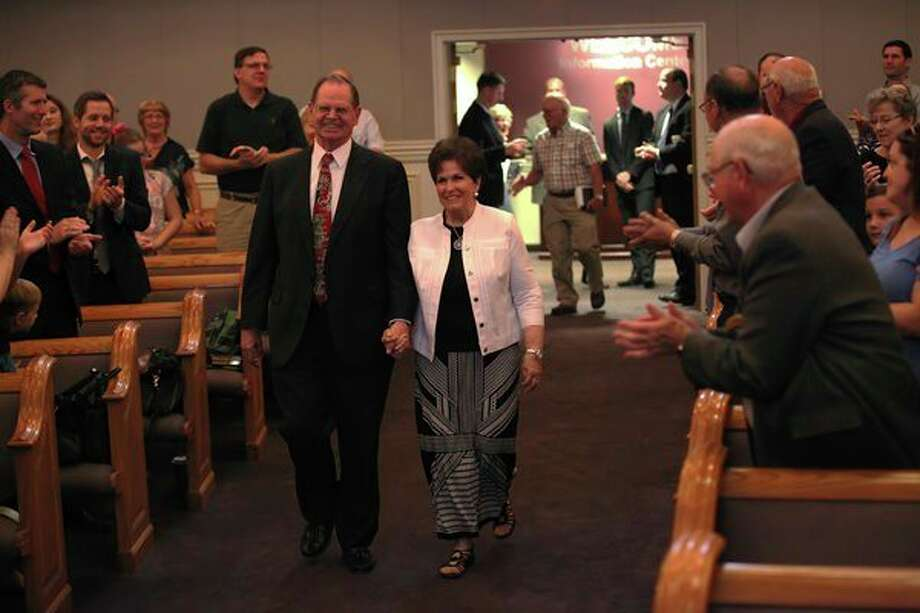 Pastor Dan and Cheryl Dickerson walk into their surprise celebration for their 40th anniversary at Calvary Baptist Church on June 30. (Photo provided/DickandCarlene Stewart)
